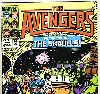 The AVENGERS #259 with Captain America & Skrulls from Sep 1985 in Fine- con. NS
