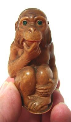 Antique Art Deco CELLULOID Thinking Monkey Figural Tape Measure Cms Inches