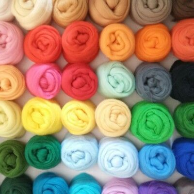 100% Pure Merino Wool Tops Roving for Felting 20 Colours 25g or 50g