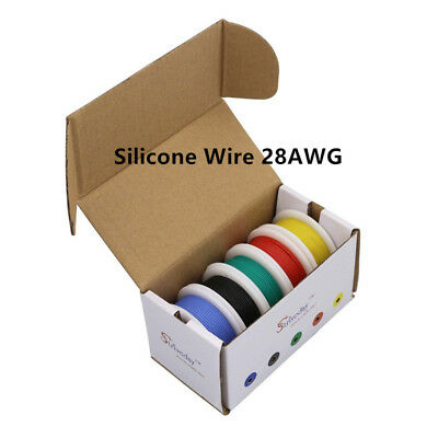 100m 28AWG Flexible Silicone Wire Cable 10 color Mix box package Electrical