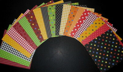 "20 COLOURFUL PATTERNED Scrapbooking/Cardmaking Papers **15cm x 15cm** (6"" X 6"")"