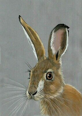 hand drawn Alert European Mad March Hare artwork parchment craft picture