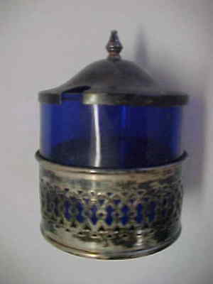 """ Sterling "" & Blue Glass Condiment Jar W/ Cover"