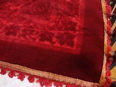 "Huge vintage plush velvet throw, bed cover, tablecloth 80"" x 56"",cut decoration"