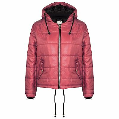 Girls Jacket Kids Bella High Shine Wine Hooded Padded Quilted Puffer Jackets
