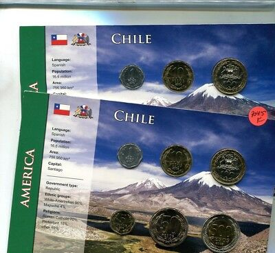 Chile 6 Coin 2006 2008  Set Lot Of 2 Bu 8045K
