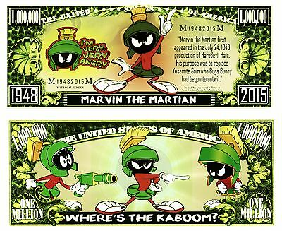 MARVIN MARTIAN Novelty Dollar Bill plus Protector & Free Shipping