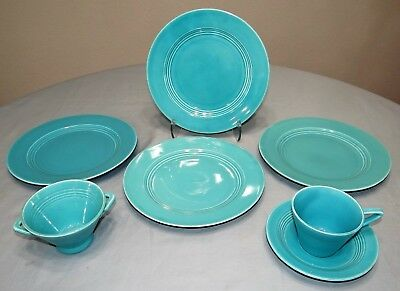 8 Pc Set Homer Laughlin China HARLEQUIN Turquoise Blue Plates Cup Saucer Sugar
