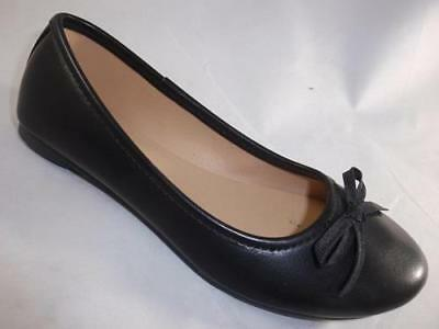 Girls Youth S.O. SPICEE Black Bow Fashion Casual Ballet Flats Dress Shoes NEW