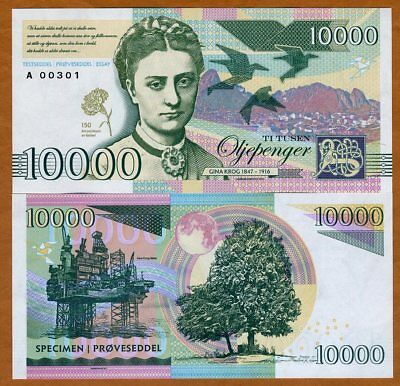 Norway, 10000 Oljepenger Gina Krog, 2017 Private Issue Essay Specimen