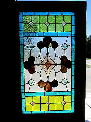 ~ ANTIQUE AMERICAN STAINED GLASS DOOR ~ 34 x 90.75 ~ ARCHITECTURAL SALVAGE ~