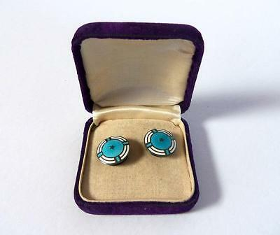 Antique Sterling Silver & Turquoise Colored Guilloche Enamel Shirt Studs