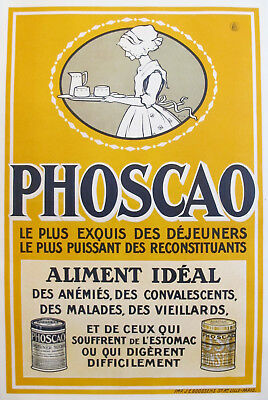 1920s French Vintage Food Poster, PHOSCAO ALIMENT IDEAL, French Farmhouse Decor!
