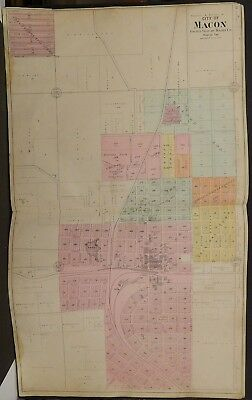 Missouri Macon County Map City of Macon 1897 Double Page L20#45