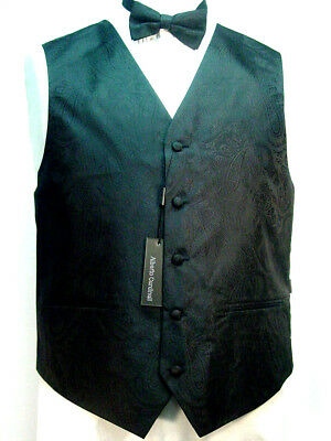 Old West Vest Victorian Style Black paisley pattern 2 ties and hanky included