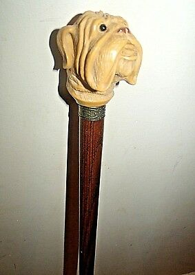"British Bulldog Walking Stick Hardwood Cane Charming French Bull Dog Head 36""3/4"