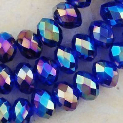 Wholesale Blue AB Crystal Faceted Abacus Loose Bead  4*6mm 100pcs