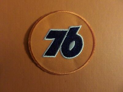 UNION 76 LOGO BLUE & SILVER & ORANGE   Embroidered 2-3/4 x 2-3/4 Iron On PATCH