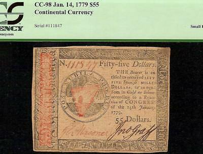 1779 $55 Dollar Continental Currency United States Note Paper Money Cc-98 Pcgs