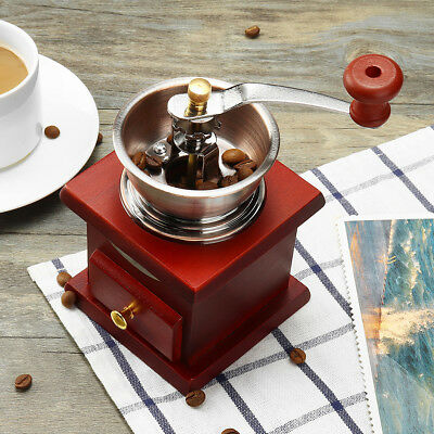 Stainless Vintage Hand Manual Coffee Bean Grinder Machine Wooden Burr Nut Mill