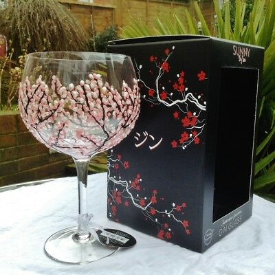 Sunny By Sue Hand Painted Gin & Tonic Large Pink Blossom Balloon Glass Boxed 17