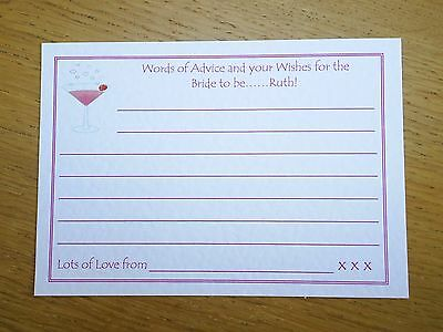 Cheap hen night party/goody bag filler. (4) Bride to be advice cards - Personali