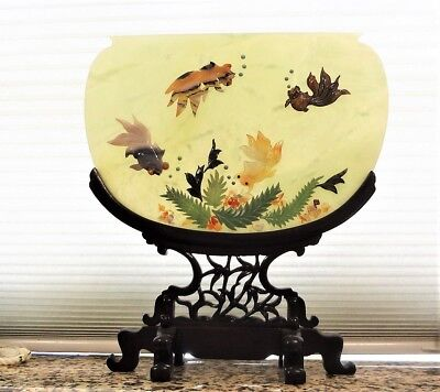 "Chinese 20thC. Large 12""x13.5"" Jade Coral Turquoise Carnelian Agate Table Screen"