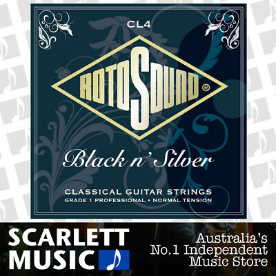 Rotosound CL4 Black & Silver Classical Guitar Strings Plain Ends Normal Tension
