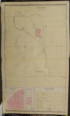 Missouri Macon County Map Ardmore Love Lake 1897 Double Page/Side L20#47