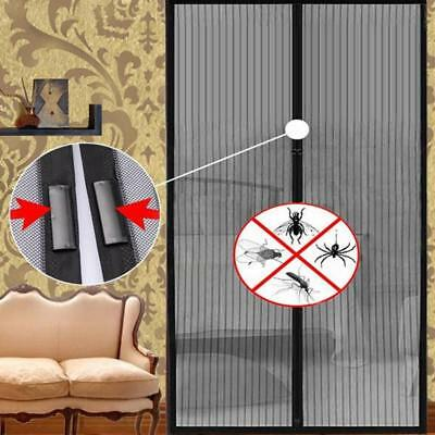 Magnetic Door Mesh Black Fly Screen Magic Magna Mosquito Bug Curtain^