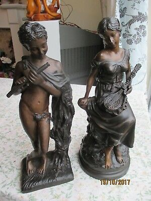 """2 x Large & Very Heavy Spelter """"Musician"""" Figurines"""