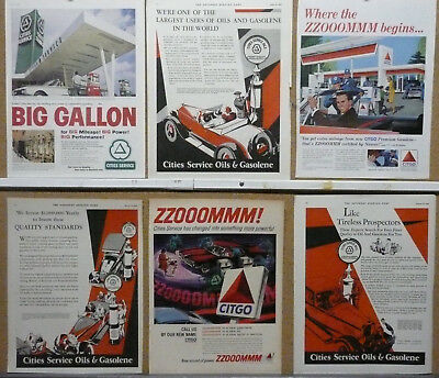 Cities Service Citgo Oil and Gas Ad Lot (6) Print Ads