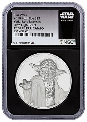 2018 Niue Star Wars Yoda UHR 2 oz. Silver Colorized NGC PF69 UC ER Blk SKU52679