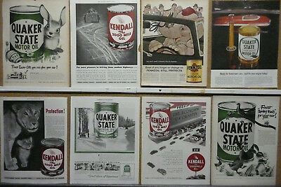 Kendall Quaker State Oil Ad Lot (8) Print Ads