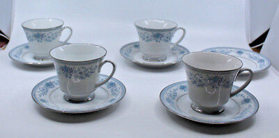 Noritake Porcelain Blue Hill 2482 4 Footed Coffee Tea Mug Cup 5 Saucer Set Japan