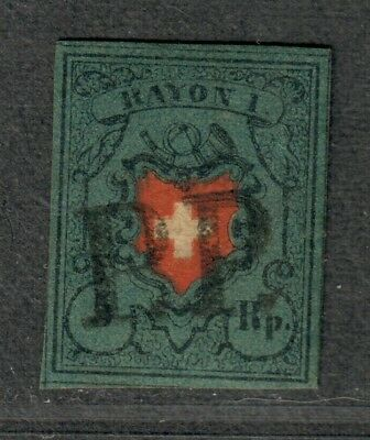 Switzerland Sc#7 Used/VF+, 4 Margins-Sm. Sealed Tear At Right, Cv. $575