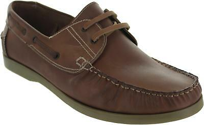 Gucinari 30259n Boat Shoes Mens Tan Leather Lace Up Stitched Seam Deck Shoes New