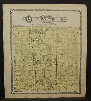 Michigan Genesee County Map Montrose Township 1907 L20#88