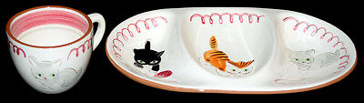 Stangl Kitten Capers Divided Dish and Mug