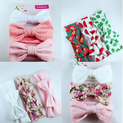 3Pcs Newborn Baby Headband Cotton Elastic Baby Print Floral Hair Band Bow-knot