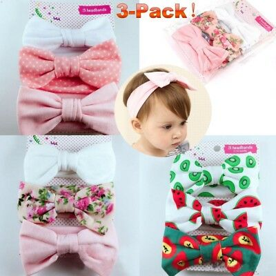 3x New Headband Cotton Elastic Baby Print Floral Hair Band Girls Bow-knot/OO