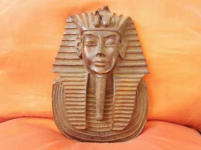 Large Antique Egyptian Head Ancient King Tutankhamun Collection Mask Sculpture