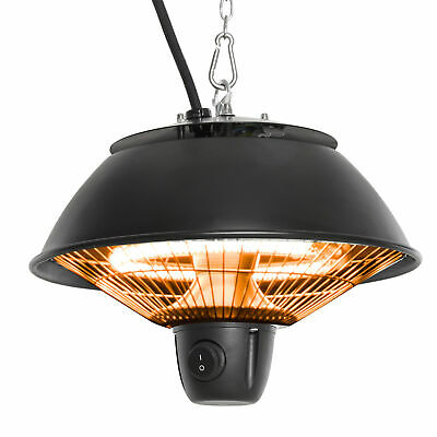 Outsunny Patio Ceiling Heater Hanging Halogen Hook Chain Black 600W