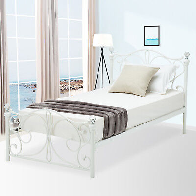 Twin Size White Metal Bed Frame Cry Finial Headboard Footboard
