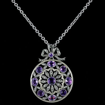 Antique Victorian Amethyst Marcasite Necklace French Silver Circa 1900