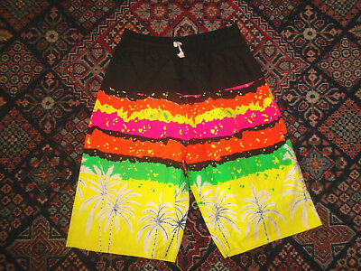 vintage 90`s shorts beach neon pants oldschool new wave sport 90s surf S