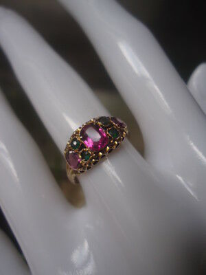 Sublime Rare Antique UK Victorian 1864 Ruby & Emerald Paste 15ct Gold Ring Small