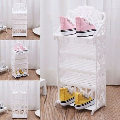 Doll Shoe Rack House Accessories Furniture Children Toys Storage for Barbie