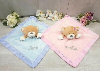 Personalised Comforter Embroidered Baby Blue Pink Baby Newborn Gift Blankie