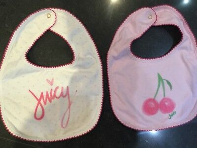 Juicy Couture New & Genuine Baby Girls Two Pack Pink Bibs With Juicy Logos